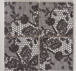 4 Shabby Chic Black White Lace Print Ceramic Coasters